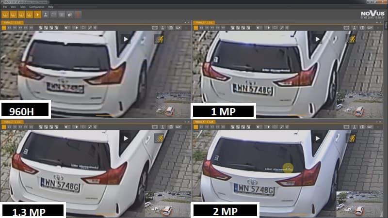 Разрешение записи видеокамер 1, 1.3, 2Mp