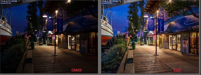 CMOS матрица проти CCD. CCD выигрывает в светочувствительности.