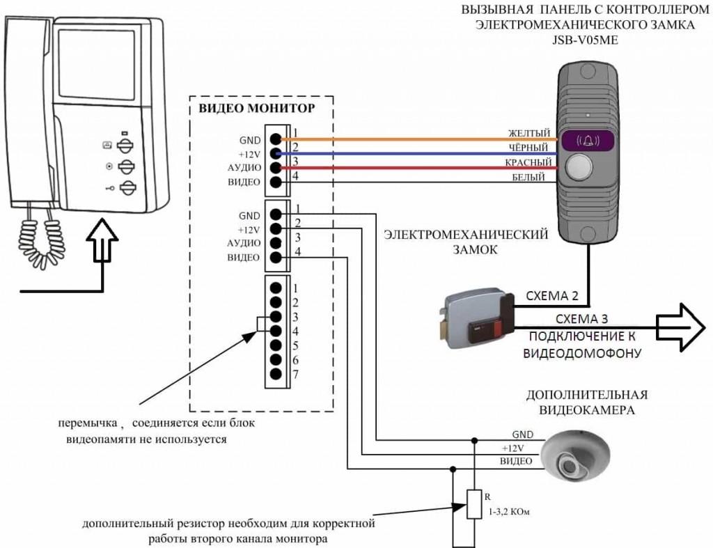 Схема подключения вызывной панели с камерой при наличии электромагнитного или электромеханического замка и считывателя.