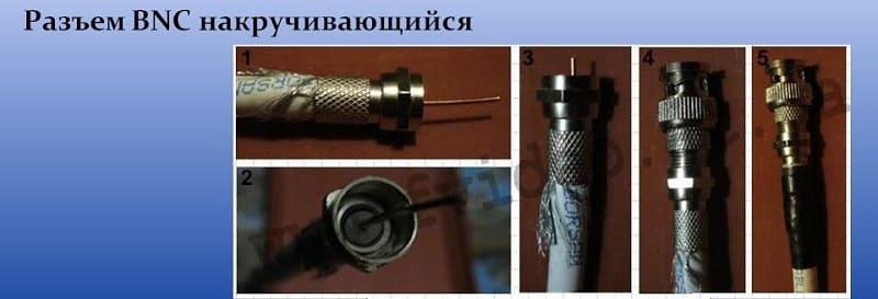Накручивающийся BNC коннектор. Такой разъем применим для телевизионного кабеля RG-6, так как только его жесткость и толщина центральной жилы позволяет закрепить коннектор.