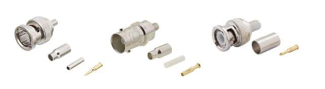 Разъем под обжим один из самых надежных методов соединения с коаксиальным кабелем, центральная жила кабеля помещается в сердечник из латуни