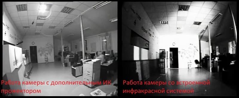 Работа камер с инфракрасным прожектором и без него