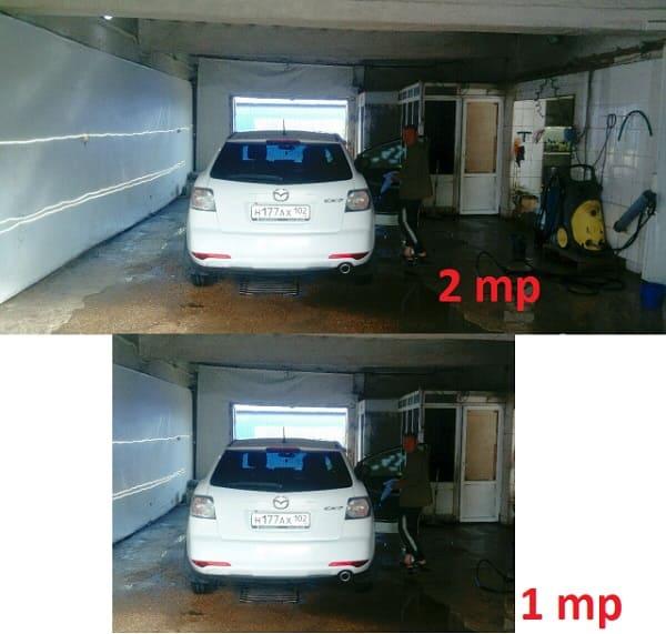 Сравнение разрешения между 1 и 2-х мегапиксельной камеры