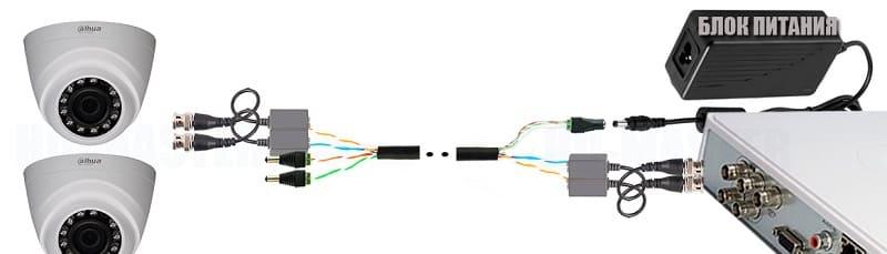 Подключение двух камер (Сигнал + Питание) по одному кабелю