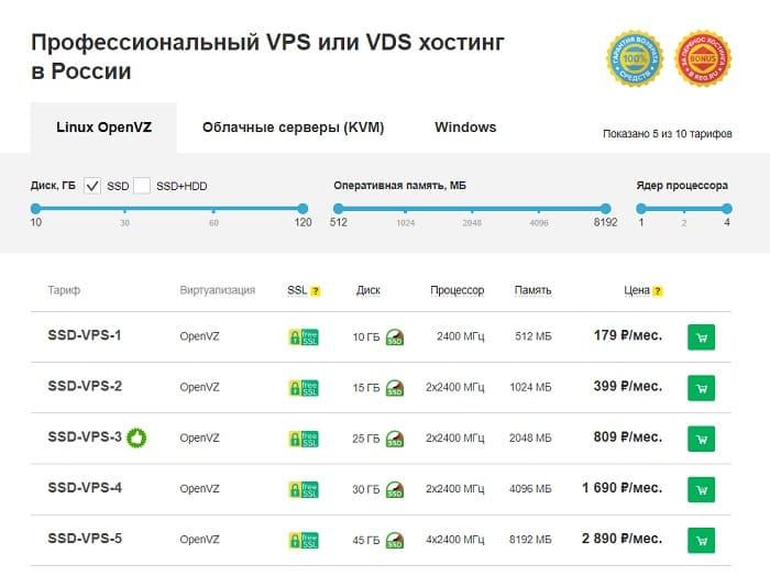 Выбор тарифа на reg.ru