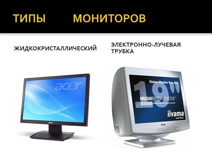 Виды компьютерных мониторов