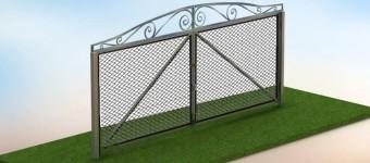 Распашные ворота из сетки рабицы своими руками