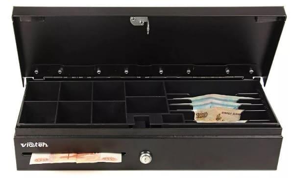 Кассовый ящик с аварийным отсеком под деньги