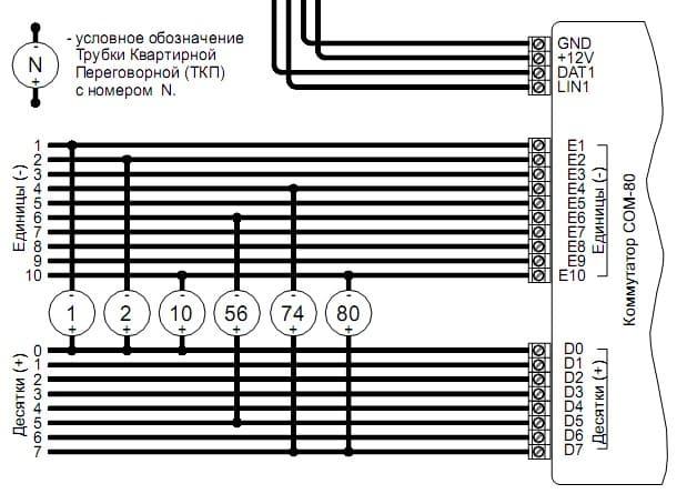 Схема кооммутатора подъездного домофона