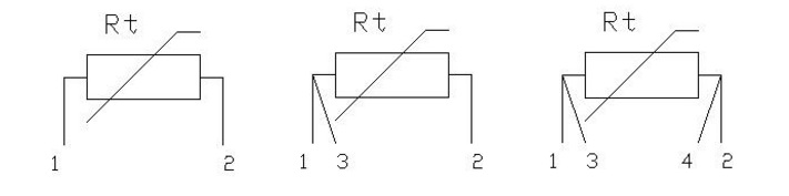 Схема подключения 2-х, 3-х и 4-х проводного датчика температуры