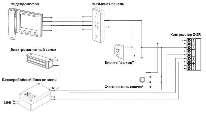 Схема подключения электромагнитного замка к видеодомофону