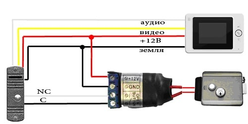 Схема подключения видеодомофона с буз