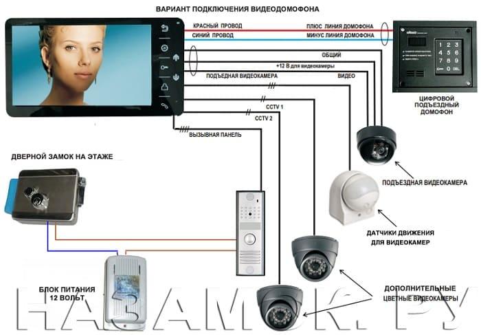 Как подключить видеодомофон к подъездному домофону. Схема и процесс установки.
