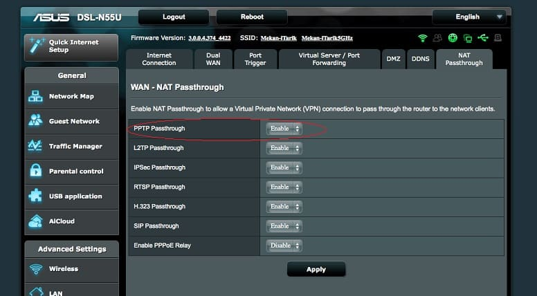 включение VPN passthrough