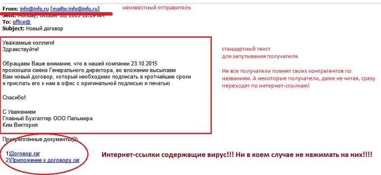 Вредоносный файл в почте