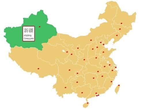 Синьцзян на карте китая