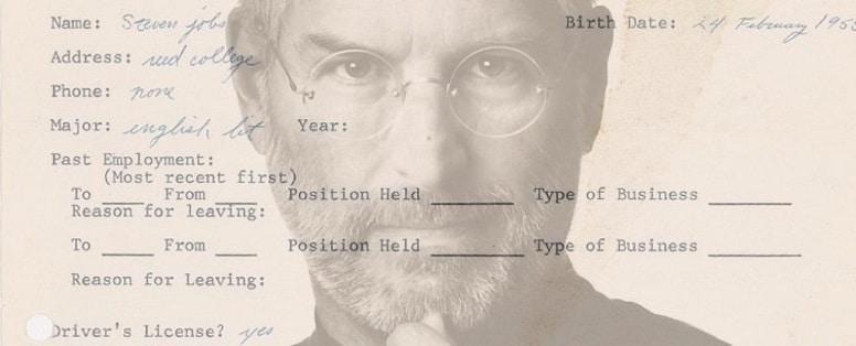 Заявление о приеме на работу Стива Джобса выставлено на аукцион.